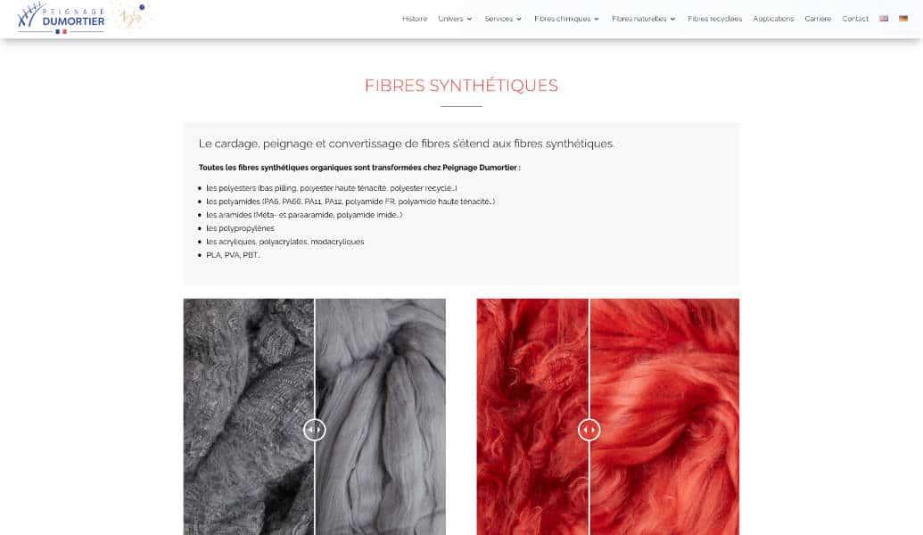 création site internet vitrine société Peignage Dumortier